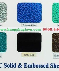 Bảng màu tấm lợp lấy sáng Polycarbonate dạng sần cát