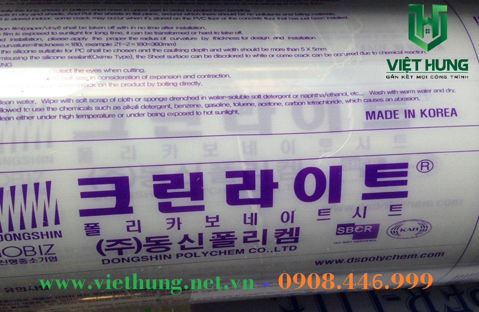 Hình ảnh tấm lợp lấy sáng Polycarbonate Đặc Ruột Hàn Quốc Korea