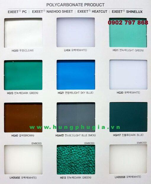 Bảng Màu Catalog Tấm Lợp Polycarbonate Đặc Ruột Hàn Quốc