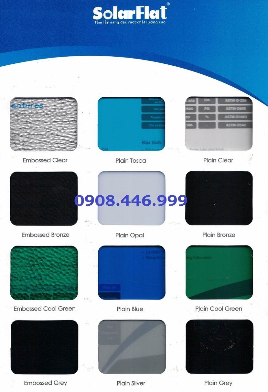 Bảng màu tấm lợp lấy sáng Polycarbonate Đặc Ruột Indonesia