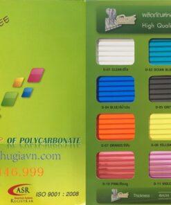 Bảng màu tấm lợp lấy sáng Polycarbonate PolyTop Thái Lan