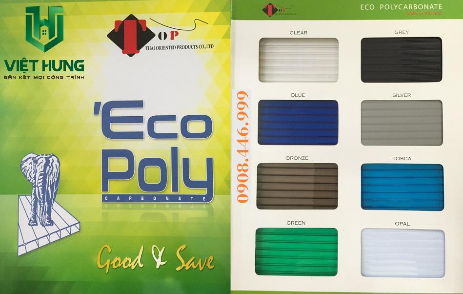 Bảng màu tấm lợp lấy sáng Polycarbonate Ecopoly rỗng ruột Thái Lan