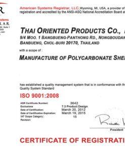 Chứng nhận ISO Tấm Polycarbonate Rỗng Ruột ECOPOLY Thái Lan