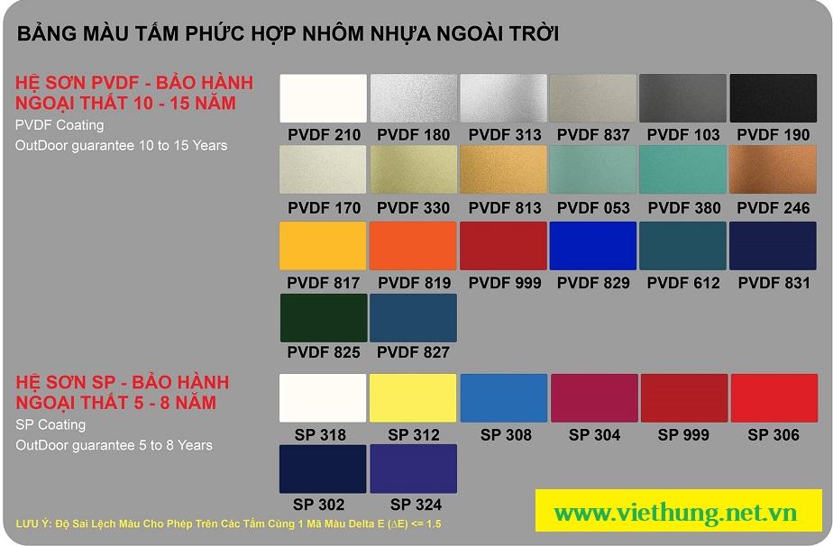 Bảng màu chi tiết tấm ốp nhôm Alu Triều Chen SP và PVDF
