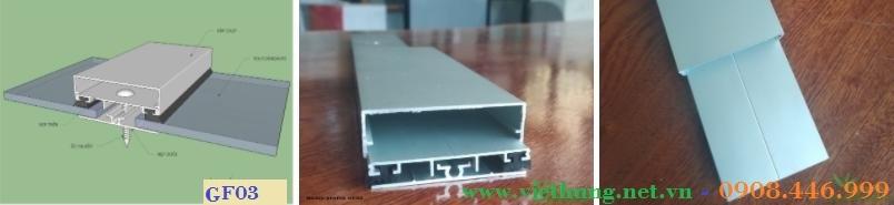 Phụ kiện nẹp tấm Polycarbonate Profile ron cao su GF03