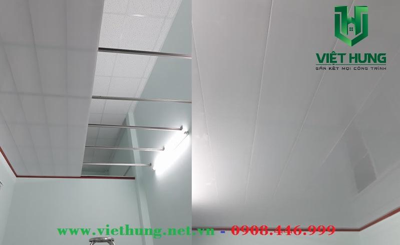 Lắp đặt trần nhà làm bằng la phông nhựa dài khổ 25cm