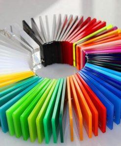 Bảng mẫu màu tấm nhựa Mica trong suốt và các màu