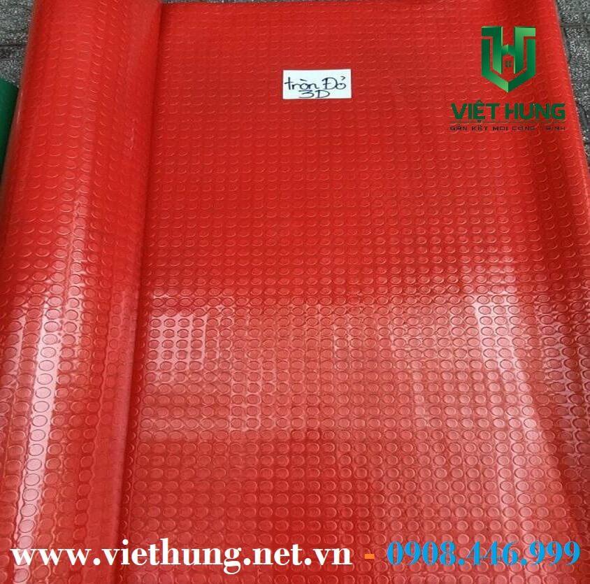 Simili lót sàn chaống trượt hình nút tròn màu đỏ 3D dày 1.2mm
